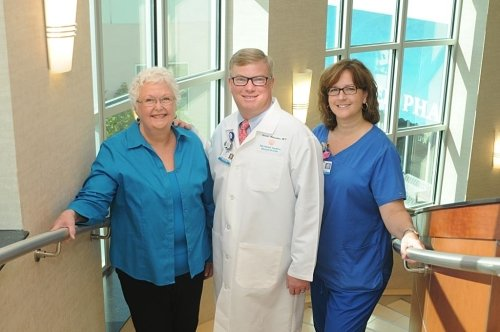 Martha Strayer with her doctor and nurse